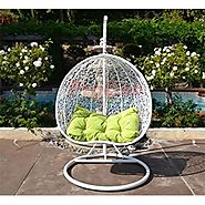 Egg Nest Shaped Wicker Rattan Swing Chair Hanging Hammock 2 Persons Seater - White / Lime