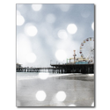 Santa Monica Pier - Grey Sparkles Photo Edit Post Card from Zazzle.com