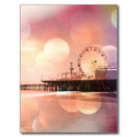 Santa Monica Pier - Sparkling Pink Photo Edit Postcard from Zazzle.com