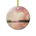 Santa Monica Pier - Sparkling Pink Photo Edit Ornament from Zazzle.com