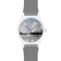 Santa Monica Pier Sparkling Silver Grey Photo Edit Watch from Zazzle.com