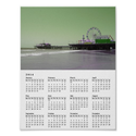 Green Purple Santa Monica Pier 2014 Calendar Print from Zazzle.com