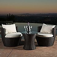 Kyoto Outdoor Patio Furniture Brown Wicker 3-piece Chat Set w/ Cushions