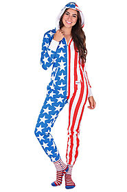 Women's American Flag USA Jumpsuit $78 @ Tipsy Elves