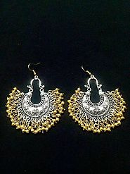 Afghani Golden Red And Blue Chandbali Oxidized Earrings