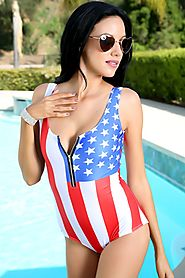 America Flag Zipper Accent One Piece Swimsuit $44.99 @ AMI Clubwear