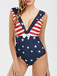 Backless Patriotic American Flag One Piece Swimwear $20.46 @ Rosegal