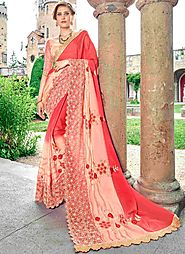 Versatile Faux Georgette Peach and Red Resham Work Shaded Saree