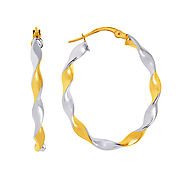 14K Two Tone Gold Twirled Oval Hoop Earrings
