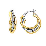 14K Two Tone Gold Hoop Earrings