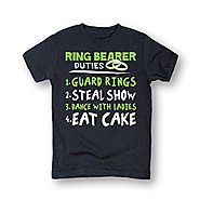 Ring Bearer Duties Steal The Show Wedding Bride Party Cute Fashion Toddler Tee