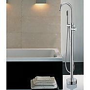 Contemporary Chrome Finish Floor Standing Tub Faucet with Hand Shower