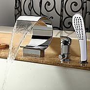 Contemporary Chrome Finish Waterfall Tub Faucet with Hand Shower