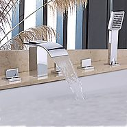 Contemporary Handshower Included Waterfall Brass (Chrome) Shower Bathtub Faucet