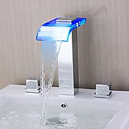 Contemporary Waterfall Wall-mounted Chrome Finish LED Glass Spout Bathroom Tub Faucet