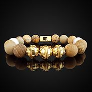 Natural Jasper and Howlite Luxury Gold Duo Bracelet