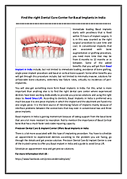 Find the right Dental Care Center for Basal Implants in India