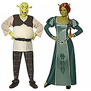 Ladies Mens Disney Shrek AND Fiona Couples Combo Halloween Fancy Dress Costumes Outfits (Ladies 12-14 & Mens Large) b...