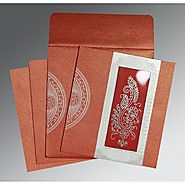 Red Shimmery Paisley Themed - Foil Stamped Wedding Invitations : D-8230C | 123WeddingCards
