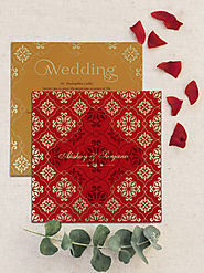 Red Matte Screen Printed Wedding Invitation | D-1786 | 123WeddingCards
