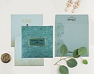 Turquoise Shimmery Floral Themed Wedding Invitation : D-1803