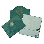 GREEN SHIMMERY FLORAL THEMED - SCREEN PRINTED WEDDING INVITATION : D-802C - 123WeddingCards