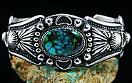 Harry H. Begay Pilot Mountain Spiderweb Turquoise Hammered Ingot Sterling Silver Bracelet