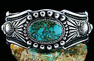 Harry H. Begay Royston Spiderweb Turquoise Hammered Ingot Sterling Silver Bracelet