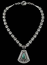 Joseph Coriz Fox Spiderweb Turquoise Reversible Overlay Necklace