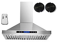 "AKDY 30"" Convertible Stainless Steel Wall Mount Ductless Ventless Range Hood with Remote Control"