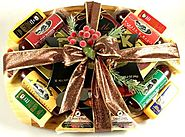 Meat And Cheese Gift Basket with Deluxe Bamboo Cutting Board