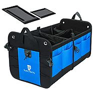 Trunkcratepro Collapsible Portable Multi Compartments Trunk Organizer, Blue