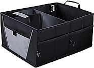 Auto Trunk Storage Organizer Bin with Pockets - Portable Cargo Carrier Caddy for Car Truck SUV Van, 21 x 15 x 10 Fold...