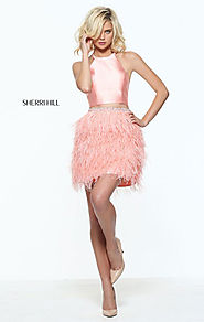 Sherri Hill 51043 Halter Neck Mikado Short Feathers Cocktail Dresses Two Piece Coral 2017