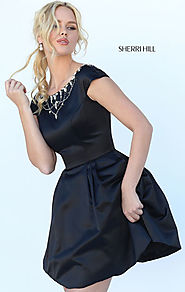 Discount Sherri Hill 50534 Beaded Boat Neck Satin Cap Sleeves Black Short A Line Prom Dresses
