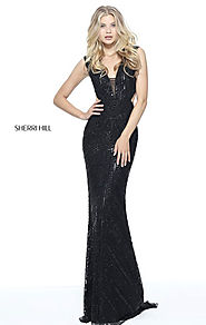 2017 Sleeveless Plunging V Neck Long Black Evening Gown Beaded Pattern Cutouts Back Sherri Hill 51245