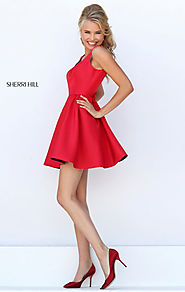 Sherri Hill 50330 Boat Neck Cheapest Red Open Back A-Line Short Satin Party Dresses