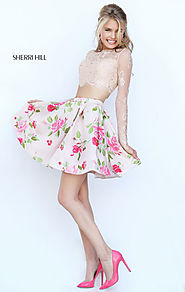 Boat Neck Nude/Coral Lace Long Sleeves Short Floral Print Cocktail Dresses Sherri Hill 50464 Cheap