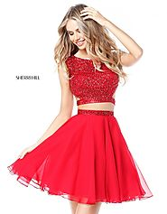 Cap Sleeves Newest 2017 Two Piece Red Beaded Bodice Sherri Hill 51295 Short Chiffon Cocktail Dresses