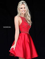 2017 Beaded Bodice Red High Neck A-Line Short Satin Prom Dresses Sherri Hill 51504