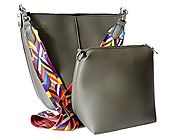 DESIGNER STYLE GREY BAG IN BAG SHOULDER BAG SET WITH MULTI-COLOUR STRAP