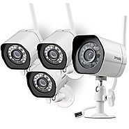 Zmodo Outdoor Wireless IP Security Surveillance Camera System - 4 Pack HD Night Vision Remote Access Motion Detection
