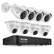 ZOSI 8CH 720p AHD-TVI Security Camera System 1080N DVR Reorder with (8) HD 1280TVL Outdoor CCTV Cameras with IP66 Wea...