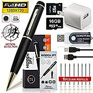MINICUTE 720P Hidden Camera Spy Pen - Bonus 16GB C10 MICRO Card + 8 INK FILLS +updated battery+SD card Adapter+Card r...