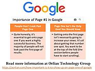 Importance of Page #1 in Google