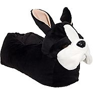 Animal Slippers - Plush French Bulldog Dog Slippers by Silver Lilly (Large)