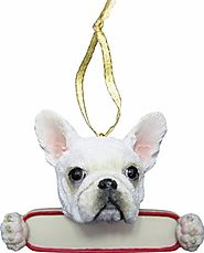 "French Bulldog Ornament White ""Santa's Pals"" With Personalized Name Plate A Great Gift For French Bulldog Lovers"