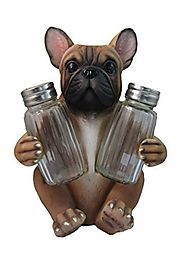 Adorable French Bulldog Salt And Pepper Shaker Set By DWK | Decorative Statues and Gift Ideas for Pet Owners