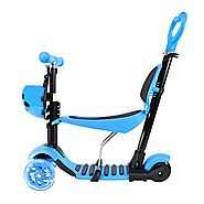 Adjustable Three In One 3 Wheel Blue Push Kick Scooter for Toddlers and Kids 3 in 1 Up To 55 Lbs