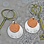 Mr & Mrs Coin Keyring Set